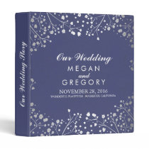 Baby's Breath Silver and Navy Wedding Binder