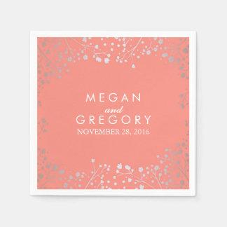 Baby's Breath Silver Coral Wedding Paper Napkin