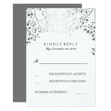 Toddler & Baby themed Baby's Breath Silver Wedding RSVP Cards