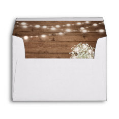 Baby's Breath String Light Rustic Wood Wedding 5x7 Envelope at Zazzle