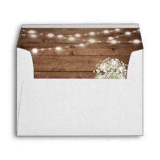 Baby's Breath String Light Rustic Wood Wedding 5x7 Envelope