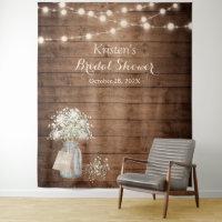 Baby's Breath String Lights Bridal Shower Backdrop