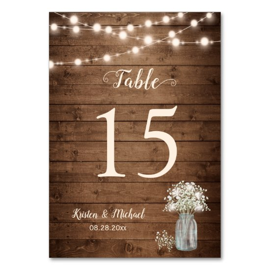 Baby's Breath String Lights Wedding Table Number