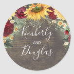"""Baby's Breath Sunflowers Burgundy Roses Fall Classic Round Sticker<br><div class=""""desc"""">Baby's breath,  sunflowers,  daisies and burgundy red roses rustic fall wedding stickers</div>"""