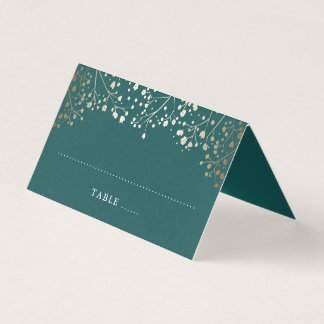 Baby's Breath Teal and Gold Wedding Place Card