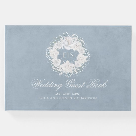 Baby's Breath White and Dusty Blue Wedding Guest Book