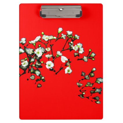 babys breath white flowers against red clipboards