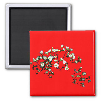 babys breath white flowers against red magnet