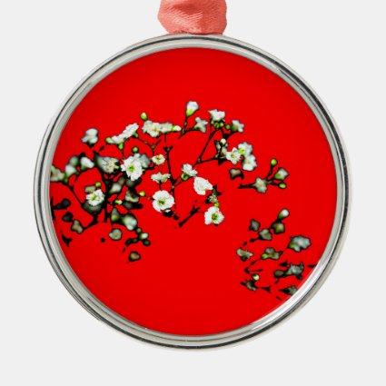 babys breath white flowers against red christmas ornaments