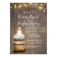 Baby's Breath Wine Barrel Rustic Lantern Wedding Invitation