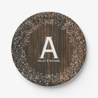 Baby's Breath Wood Inspired Monogrammed Wedding Paper Plate