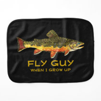 Baby's Brown Trout Fishing Baby Burp Cloth