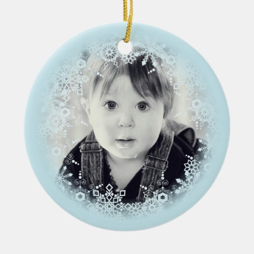 Baby's Christmas Ornament - Blue & White Snowflake