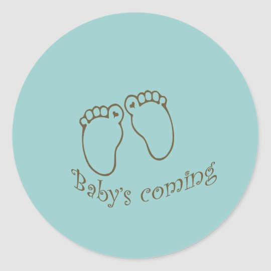 babys coming feet classic round sticker