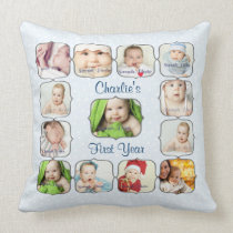 Baby's First 1st Year Photo Collage Pillow