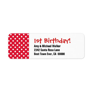 Baby's First Birthday 1st Cute Polka Dot Pattern Label