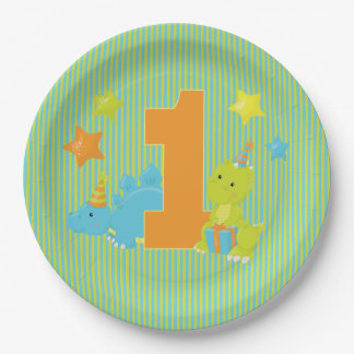 Baby's First Birthday - Baby Dinosaur Party 9 Inch Paper Plate