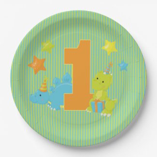 Baby's First Birthday - Baby Dinosaur Party Paper Plate