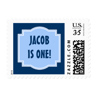 Baby's First Birthday Custom Name Blue Frame Postage Stamp