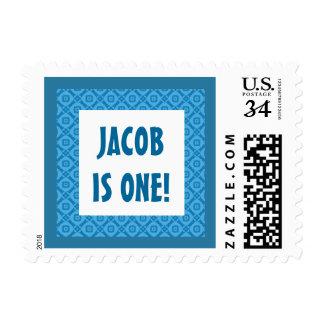 Baby's First Birthday Custom Name Blue Frame Postage Stamp
