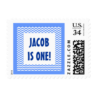 Baby's First Birthday Custom Name Blue Frame Stamp