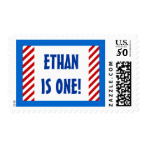 Baby's First Birthday Custom Name RED STRIPES Postage