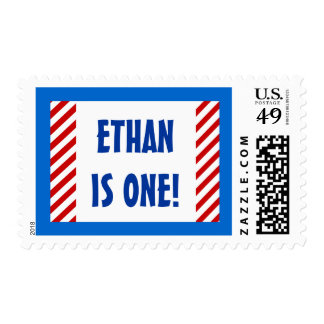 Baby's First Birthday Custom Name RED STRIPES Stamps