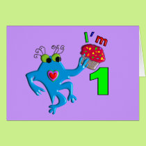 "Baby's First Birthday ""I'm 1"" Monster T Card"