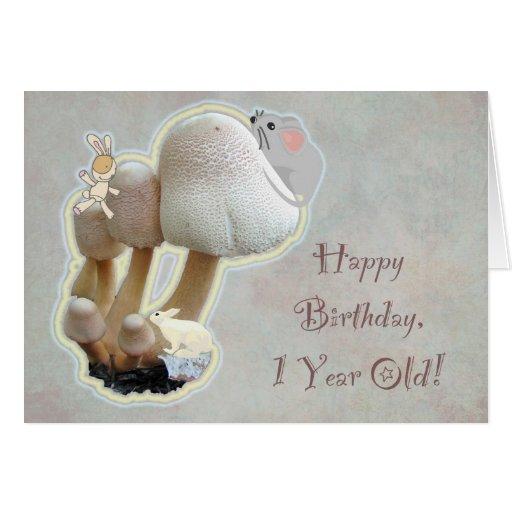 Baby's First Birthday Mushroom Playground Greeting Card