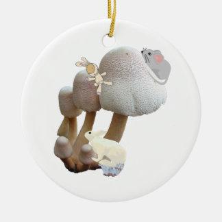 Baby's First Birthday Mushroom Playground Pink Ceramic Ornament