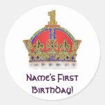 Baby's First Birthday Round Stickers