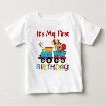 Baby's first birthday train baby T-Shirt