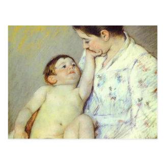 Baby's First Caress. c. 1890, Mary Cassatt Postcard