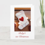 Baby's first Christmas 1st Christmas with stocking Holiday Card