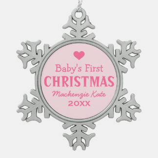 Baby's First Christmas   Baby Girl Snowflake Pewter Christmas Ornament