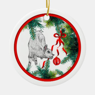 Baby's First Christmas Baby Goat Double-Sided Ceramic Round Christmas Ornament