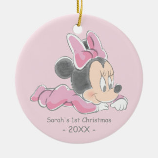 Baby's First Christmas, Baby Minnie Double-Sided Ceramic Round Christmas Ornament