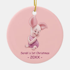 Baby's First Christmas, Baby Piglet Double-Sided Ceramic Round Christmas Ornament at Zazzle