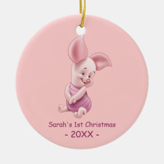 Baby's First Christmas, Baby Piglet Double-Sided Ceramic Round Christmas Ornament