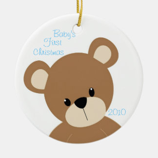 Baby's First Christmas Bear Blue Circle Ornament