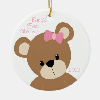 Baby's First Christmas Bear Pink Circle Ornament