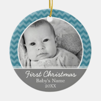 Babys First Christmas - blue chevrons and gray Double-Sided Ceramic Round Christmas Ornament