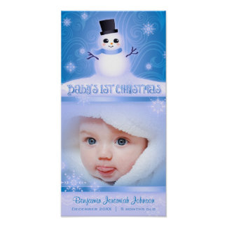 """Baby's First Christmas"" Blue Commemorative Poster"