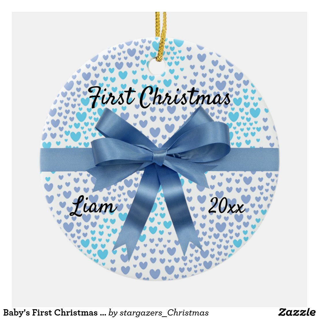 Baby's First Christmas Blue Hearts and Blue Bow Ceramic Ornament
