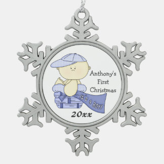 Baby's First Christmas/Boy-Customize Name/Year Snowflake Pewter Christmas Ornament
