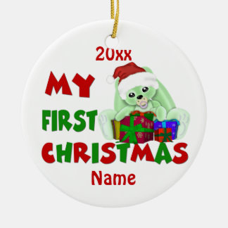 Babys First Christmas Bunny Personalized Ceramic Ornament