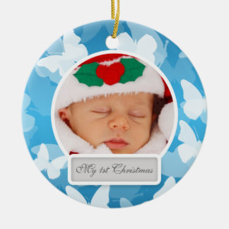 Baby's First Christmas Butterflies Blue Ceramic Ornament