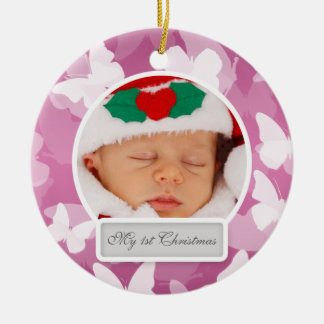 Baby's First Christmas Butterflies Pink Ceramic Ornament