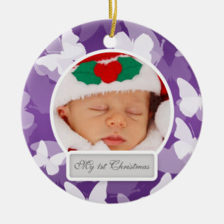 Baby's First Christmas Butterflies Purple Ceramic Ornament