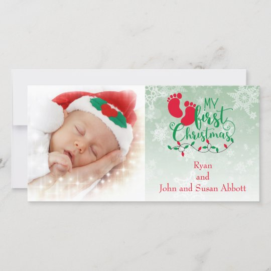 Baby S First Christmas Card Zazzle Com